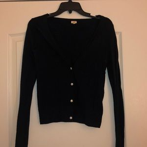 Jcrew navy wool cardigan with rhinestone buttons
